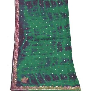Sanskriti Vintage Dupatta Long Stole Pure Chiffon Silk Green Handmade Tie-Dye