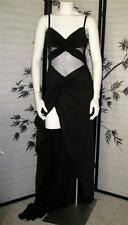 NEW PANOPLY 8 S/M sexy Black full gown Sheer midriff see thru mesh back open leg