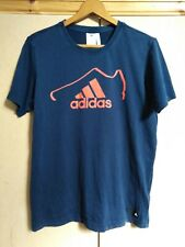 ADIDAS - NAVY CLIMALITE T SHIRT WITH RED LOGO - SIZE SMALL