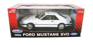 RARE WELLY 1986 FORD MUSTANG SVO WHITE 1/18 DIECAST CAR