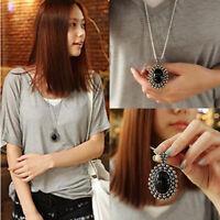 Fashion Women Crystal Oval Charm Statement Long Chain Bib Pendant Necklace Gift