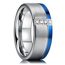 Blue Line Wedding Band w Cz New* King Will Gem 8mm Silver Tungsten Carbide Ring