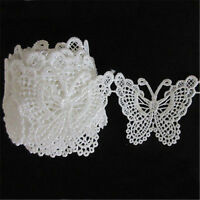 Vintage Butterfly Embroidered Lace Edge Trim Ribbon Appliques DIY Sewing Craft