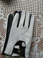 Stylish Mens Black/White Soft Leather Driving Gloves  From Lorenz New M