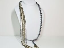 "Boutique Pearl and Beads Necklace 16""-18"" Handmade (Gray,White,Gold)"