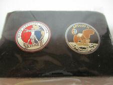"""Sealed 2 Nasa Space Enamel Lapel Pins """"Skylab 2/Apollo 11"""""""