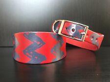 Pequeñas y medianas de cuero collar de perro galgo inglés Galgo Saluki rojo con impresión gris