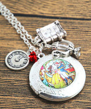 """Disney's Beauty And The Beast Silvertone Locket With 3 Charms on 18"""" Chain"""