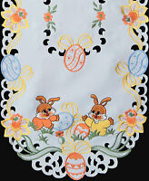 Spring Embroidered Easter Bunny Egg Floral Placemat Tablecloth Runner White 6710