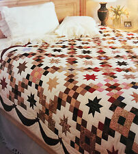 1840s OLD THYME CHAIN AND STAR APPLIQUE PATCHWORK VINTAGE QUILT PATTERN HOMESPUN