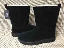 UGG Classic Short Black Waterproof Leather Sheepskin Boots Size US 9.5 Womens