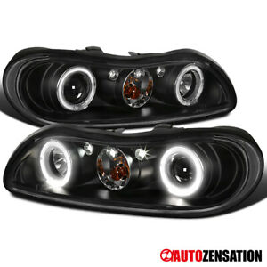 For 1997-2003 Chevy Malibu Dual Halo Rims Black Projector Headlights Lamps