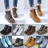 Womens Mens PU Leather Martin Boots Lace Up Combat High Top Military Ankle Shoes