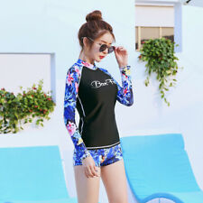 Women's Rash Guard Long Sleeve With Shorts Two Piece Surfing Sports Swimsuit 498