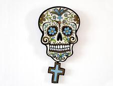 Day of the Dead Sugar Skull - Beige Skull Silhouette - Pendulum Wall Clock