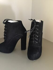 Shellys London Potak Black Suede Lace Up High Heel Boots Size 7M *NEW