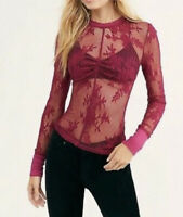 New Free People Cool With It Lace Layering Top XS Rhubarb Red Intimately NWT