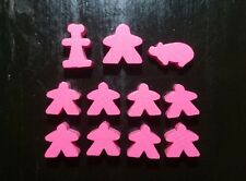 Carcassonne 12 Holzfiguren (Set) in rosa Meeples/Gefolgsleute * original & neu *