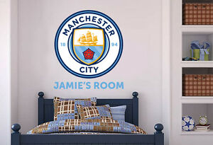 Official Manchester City Personalised Crest, Name & Set Wall Sticker Decal Man