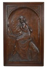 French Antique Romantic Hand Carved Wood Wall Panel - Lady Portrait