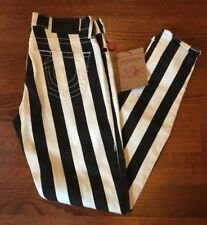 NEW True Religion Brand Jeans Women's Halle Wide Stripe Black White Size 27 NWT