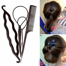 1Set(4Pc) Combo of Topsy Tail Braid Ponytail Hair Bun Maker Tail Comb Style Tool