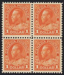 Canada $1 KGV Admiral Block, Scott 122, VF MNH, catalogue - $1,440