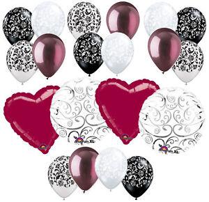 20 pc Burgundy Heart & Swirl Balloon Bouquet Wedding Bridal Shower Anniversary