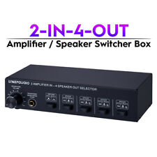 2-In-4-Out Amplifier / Speaker Splitter Stereo Audio Switcher Box Selector + Amp