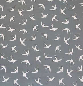 Swallow Grey 100% Cotton Poplin Novelty Print Bunting Craft Dress Fabric