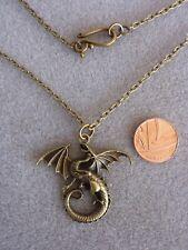"Bronze Dragon Charm Necklace Pendant 30"" Long Chain Vintage Birthday Gift # 356"