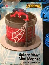 DecoPac SPIDER MAN MAGNET CAKE TOPPER & 12 SPIDER PICKS B-DAY DECORATING KIT NEW