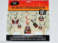 NEW~ ROCK ON~  1-PACKAGE WITH 6  FOIL SWIRL DECORATIONS     PARTY SUPPLIES