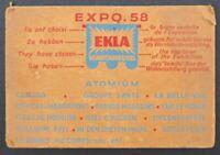 Ancien Sous-bock bière EKLA exp 1958 carte postale beermat coaster Bierdeckel 13