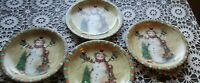 "4 Susan Winget COUNTRY SNOWMAN DINNER Plates 10 3/8""  Vintage 1998"