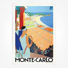 Vintage travel poster-A4-monte carlo tennis