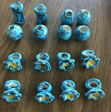 Vintage Ceramic Macrame Beads, Blue flowers and blue round and column