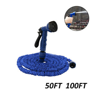 Expandable Flexible Garden Water Hose Pipe Spray Gun Nozzle for Car 50FT 100FT