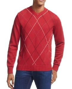Geoffrey Beene Sweater Sz S Wine Red Multi Harlequin V-Neck Pullover Casual