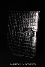 iPad 2 3 & 4 (Black Crocodile) Real Leather Croc Print Cover Case Stand Folio