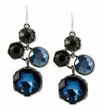 KENNETH COLE New York 'Midnight Sky' Blue Bead Cluster Drop Silver-Tone Earrings