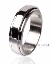 5PCS Titanium Jewelry Stainless Steel 2-Layers Turning Spinner Band Ring FREE