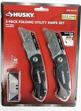 HUSKY 2-Pack Folding Utility Knife Set Sure-Grip lock-back 1004 363 651