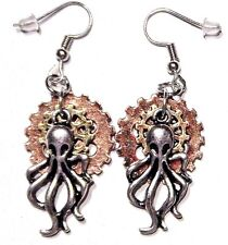STEAMPUNK OCTOPUS & GEAR EARRINGS bronze copper Lovecraft Cthulhu pendant new 6E