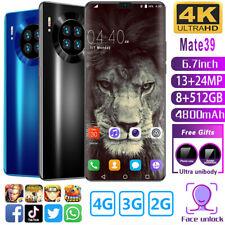 Mate39 6.7'' HD 24MP Camera Dual SIM Android 10 Face Unlock 8GB+512GB Smartphone