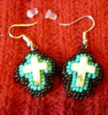 Earrings - Native American Indian Sterling Silver White Turquoise Cross
