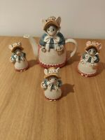 Vintage Otagiri Missy Mouse Hand Painted Japan Teapot Tea Salt Pepper Sugar set