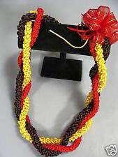 Hawaiian Rattail Ribbon Leis 3 Strand Red Gold Brown