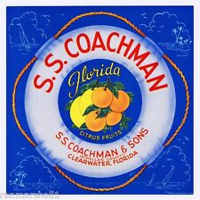Clearwater Florida S.S. Coachman Orange Citrus Fruit Crate Label Art Print