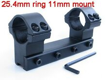 "1"" 25.4mm Dual Ring One Piece Scope Mount Low Flat Top with 11mm Dovetail Rail"
